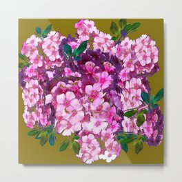 PURPLE-PINK PHLOX FLOWERS AVOCADO ART Metal Print