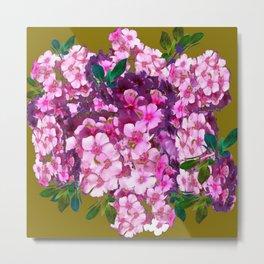 PURPLE-PINK PHLOX FLOWERS AVOCADO ART Metal Print
