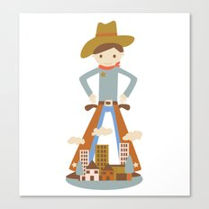 Cowboy in a lonely town Canvas Print