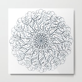 Mandala • Fuck it • grey Metal Print