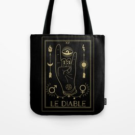 Le Diable or The Devil Tarot Gold Tote Bag