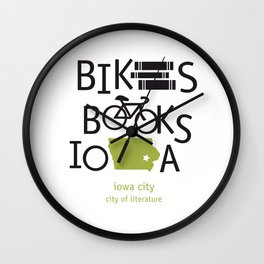 Bikes Books Iowa Wall Clock