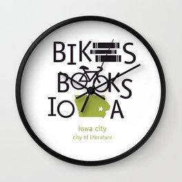 Bikes Books Iowa Wall Clock