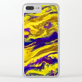 OIL ABSTRACT PAINTING - PLAY OF YELLOW AND BLUE Clear iPhone Case
