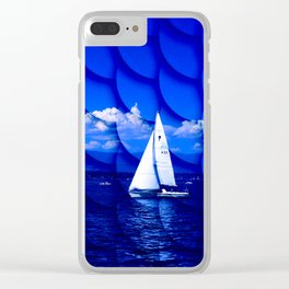 sailing blue & fishscales Clear iPhone Case