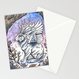 Winged Jackalope in Winter Plumage Stationery Cards