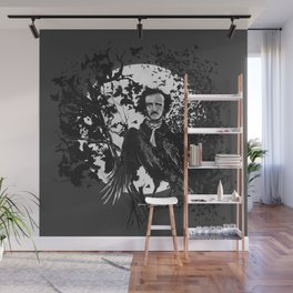 Unlikely Meeting in The Moonlight with Mr Edgar Allan Poe Wall Mural