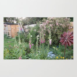 English Garden,Fertile,Atmospheric,Foxgloves and Summer Shrubs Rug