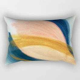 Slow as the Mississippi - Acrylic abstract with pink, blue, and brown Rectangular Pillow