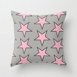 Stars pattern pink on grey Throw Pillow