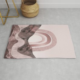 Rosegold Rainbow And Marble Gemstone Abstract Landscape Rug