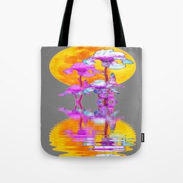 PURPLE-WHITE IRIS MOON REFLECTION Tote Bag