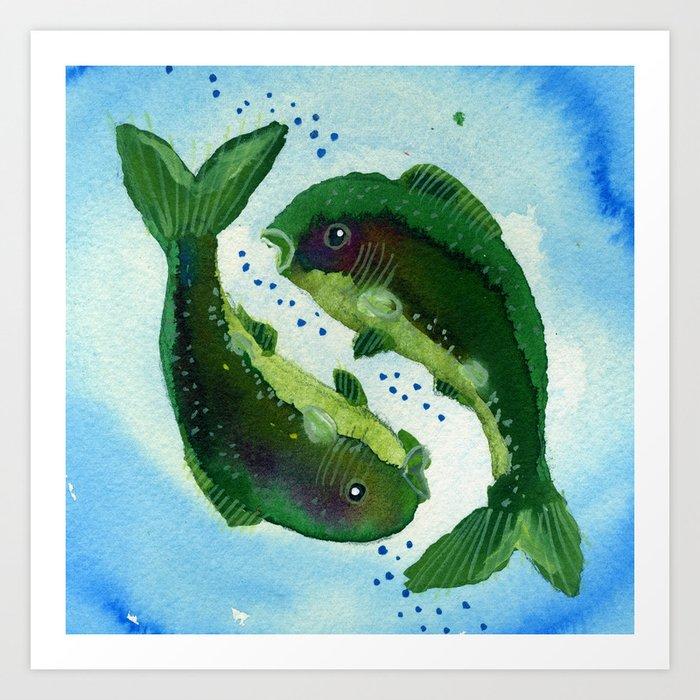 Pisces Zodiac Horoscope Painting Art Print by lisarotenberg