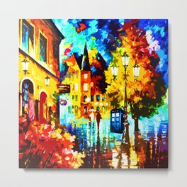 Tardis Street Art Painting Starry Night Metal Print