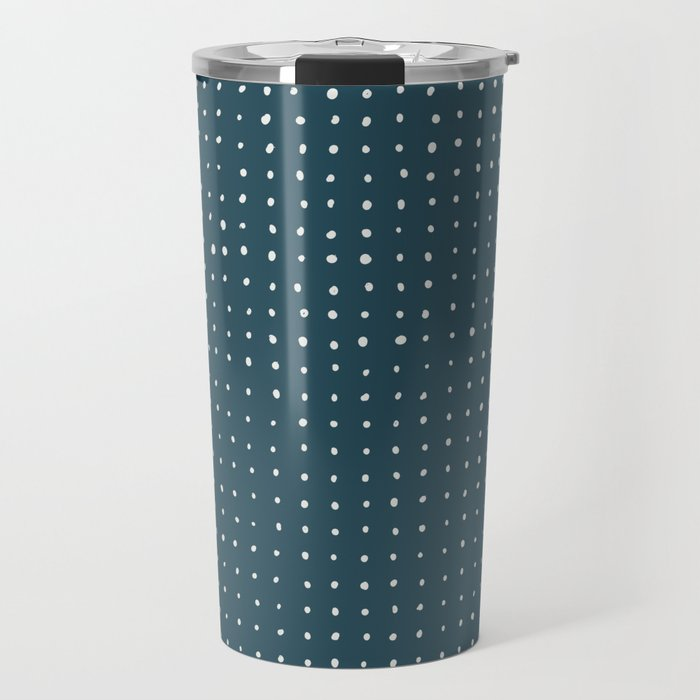 Hand Drawn Dots on Dark Teal Travel Mug