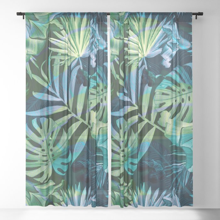 Tropical fiesta - moonlit Sheer Curtain
