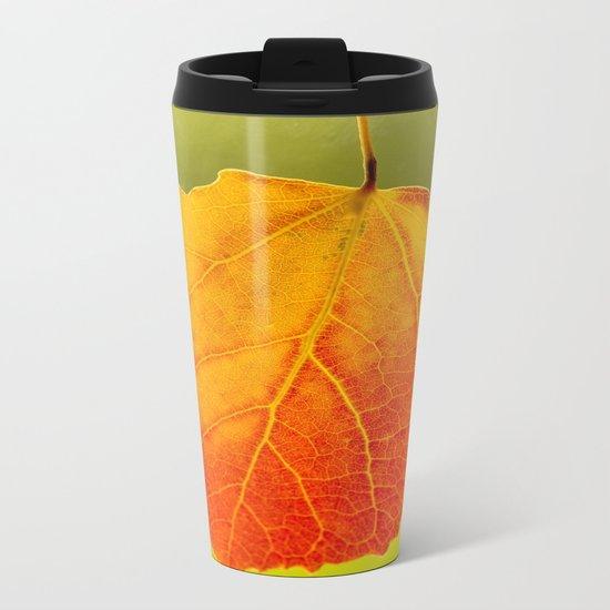 Colorful Autumn Leaf Metal Travel Mug