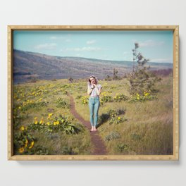 Daydreaming Girl in the Gorge - Rowena Crest Trail in the Columbia River Gorge - Film Photograph Serving Tray