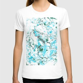 White and blue Marble texture acrylic Liquid paint art T-shirt