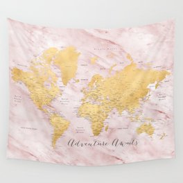 "Adventure awaits, gold and pink marble detailed world map, ""Sherry"" Wall Tapestry"