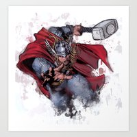 thor Art Prints featuring Thor by Isaak_Rodriguez