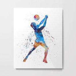 Volley ball player man 01 in watercolor Metal Print