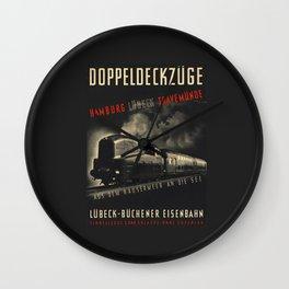 Old Black german train poster Wall Clock