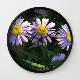 Korean Starwort (Aster Koraiensis) Flowers Wall Clock