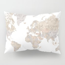 Wanderlust watercolor world map with compass rose Pillow Sham