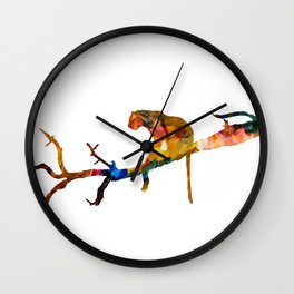 Colourful tiger resting on a tree Wall Clock