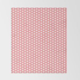 White polka dots in pink background Throw Blanket