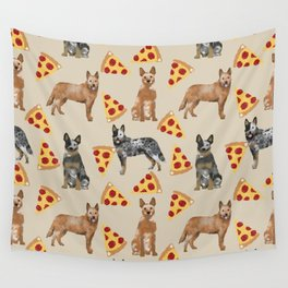 Australian Cattle Dog pizza slice pet friendly dog breed dog pattern art Wall Tapestry