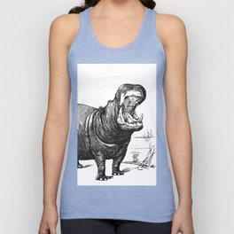Hippopotamus black and white retro drawing Unisex Tank Top