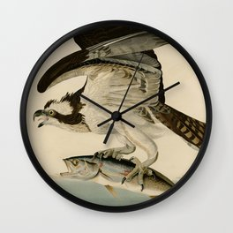 Vintage Osprey Catching a Fish Illustration (1838) Wall Clock