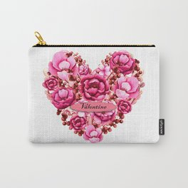 Valentine Flower Heart Design Carry-All Pouch
