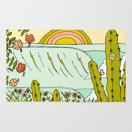 where nature and waves bloom art by surfy birdy Rug