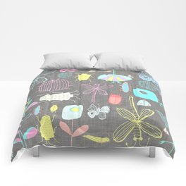 Insect watercolor grey textile texture Comforters