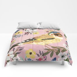 Goldfinch bird with floral crown Comforters