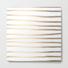 Simply Drawn Stripes in White Gold Sands Metal Print