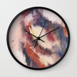 Entranced: a minimal abstract piece in pink, red, purple, and gold Wall Clock