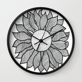 Isolated Inked Flower Wall Clock