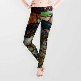"""Henri de Toulouse-Lautrec """"Papa Chrysanthème at the New Circus"""" stained glass Leggings"""