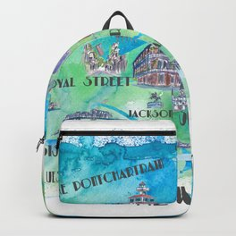 New Orleans Louisiana Favorite Travel Map with Touristic Highlights in colorful retro print Backpack