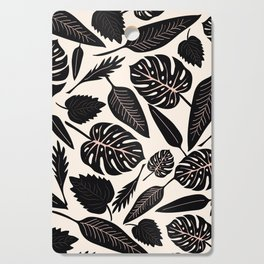 Monstera pattern in black and pastel Cutting Board