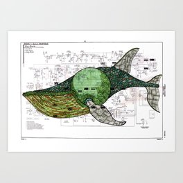 Moby-Dick page 131, the Fin-Back Whale by Matt Kish Art Print