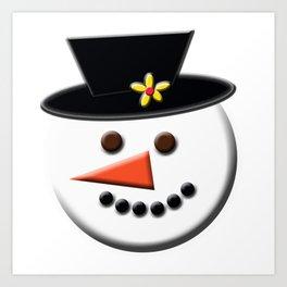 Snowman Head Digital Art Art Print