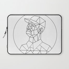 Union Worker Looking Up Low Polygon Black and White Laptop Sleeve