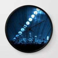 moonrise Wall Clocks featuring moonrise  by yahtz designs
