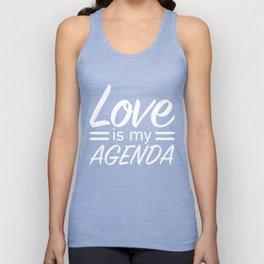LOVE IS MY AGENDA white Unisex Tank Top