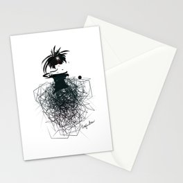 Fashion model on the catwalk in little black dress and net skirt Stationery Cards